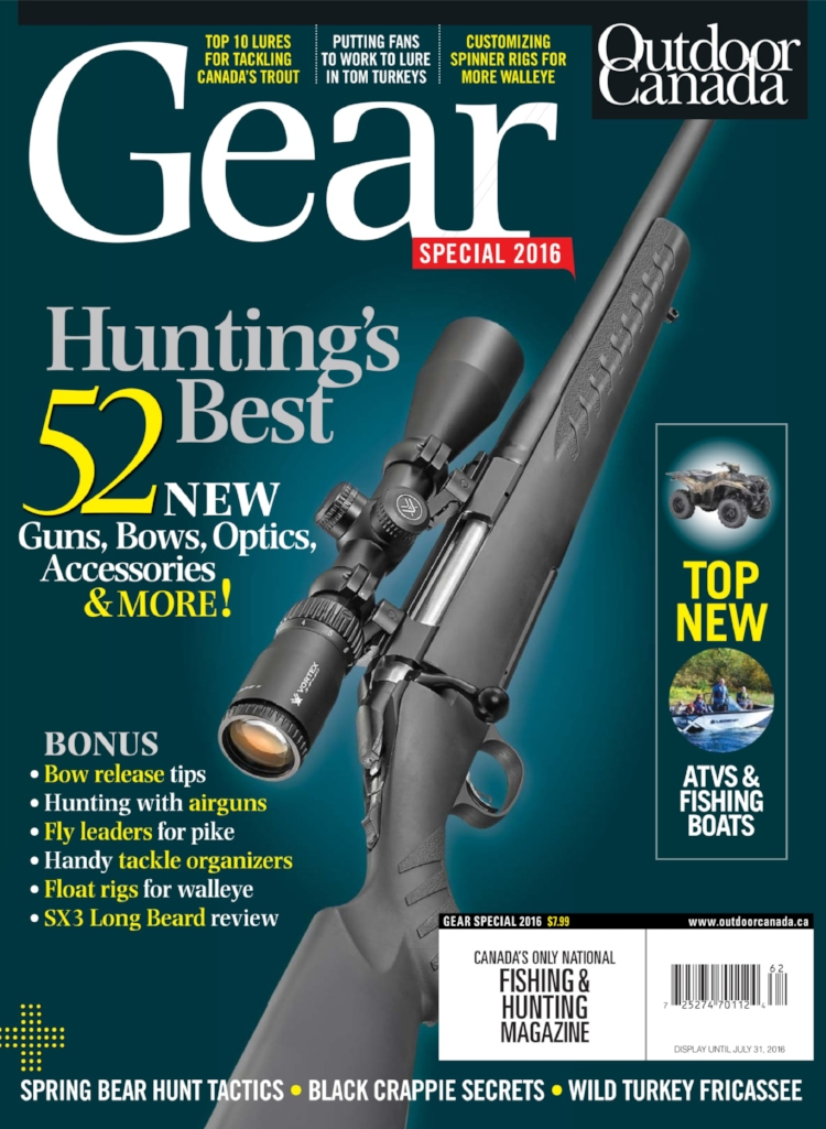 """Outdoor Canada Magazine's Cover for their issue special, """"Hunting's 52 Best New Guns, Bows, Accessories & MORE!"""""""