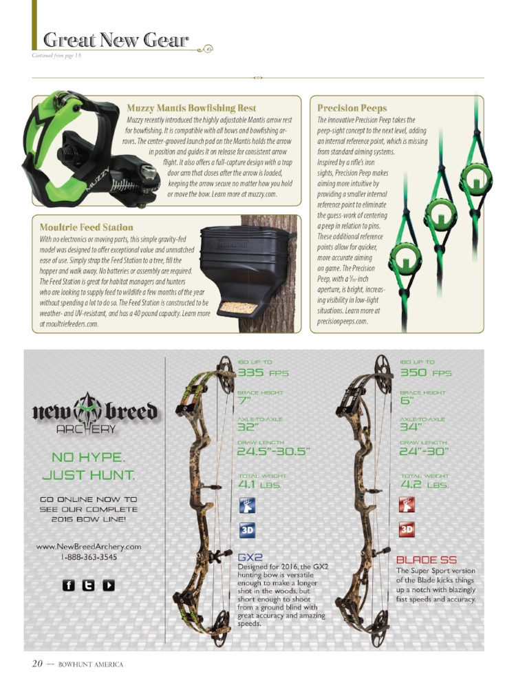 Bowhunt America Magazine's June 2016 issue showcases Precision Peeps in their Great New Gear section.