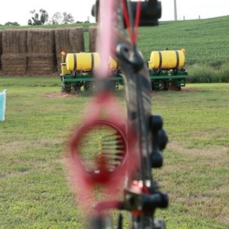 """The """"blur"""" effect of the Precision Peep Sight Post and front bowsight."""