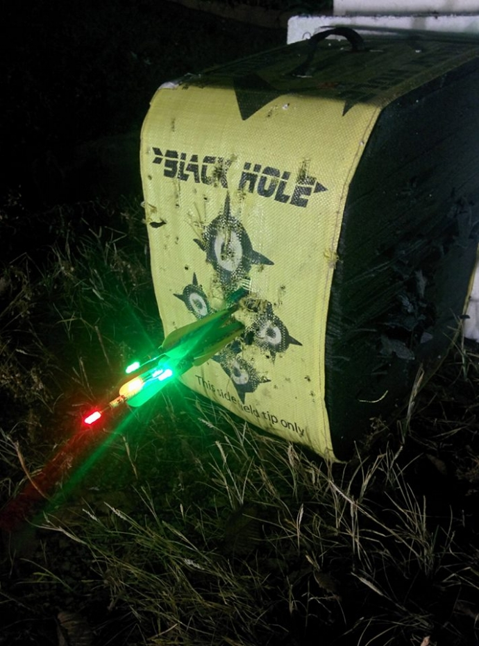 """Photo Courtesy of Ken Moine """"I have 5 arrows in that stack after dark""""."""