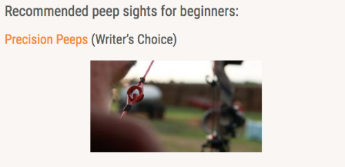 Precision Peep Sights selected as Wide Open Spaces Writer's Choice for Beginning Hunters.
