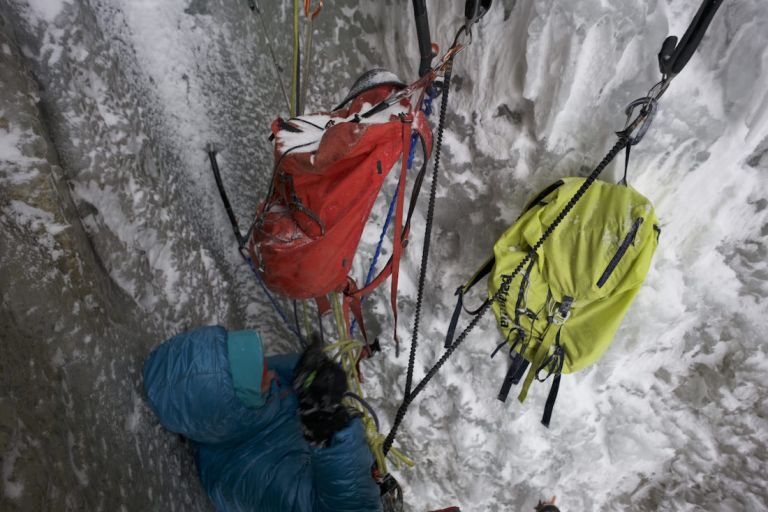 When the heavier belay gloves come in handy….belaying from tiny chimney getting shelled by spindrift and ice. Have my climbing gloves in my jacket for relatively delicate climbing it will require to follow. Photo credit: Austin Siadak