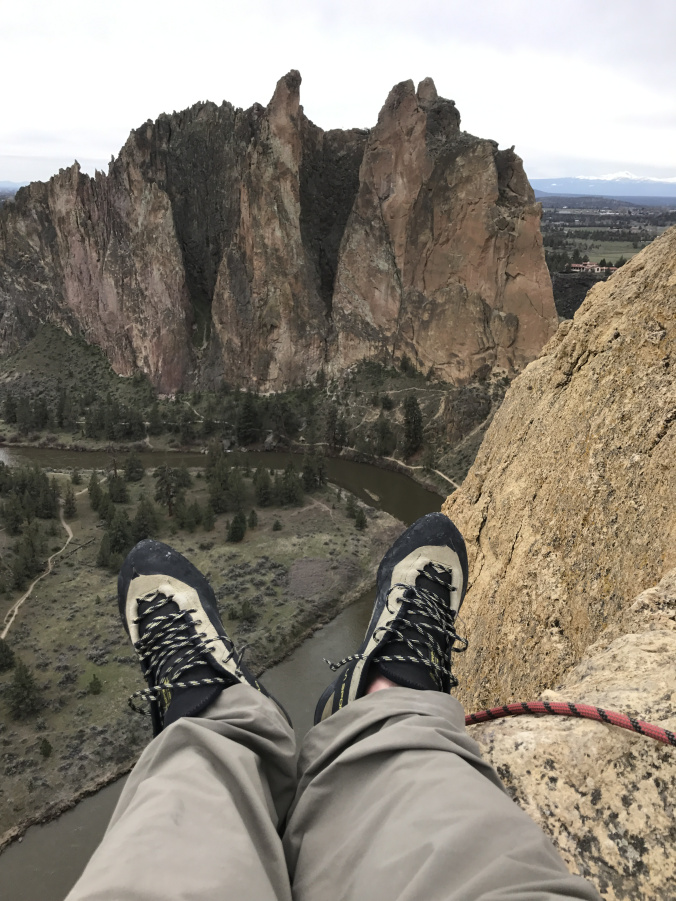 Topping out on Zebra/Zion at Smith Rock.
