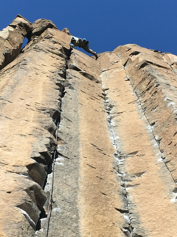 Beta: use those ski legs and stem that thing. Topping out on George and Martha at Frenchman Coulee. Photo: Emily Smith