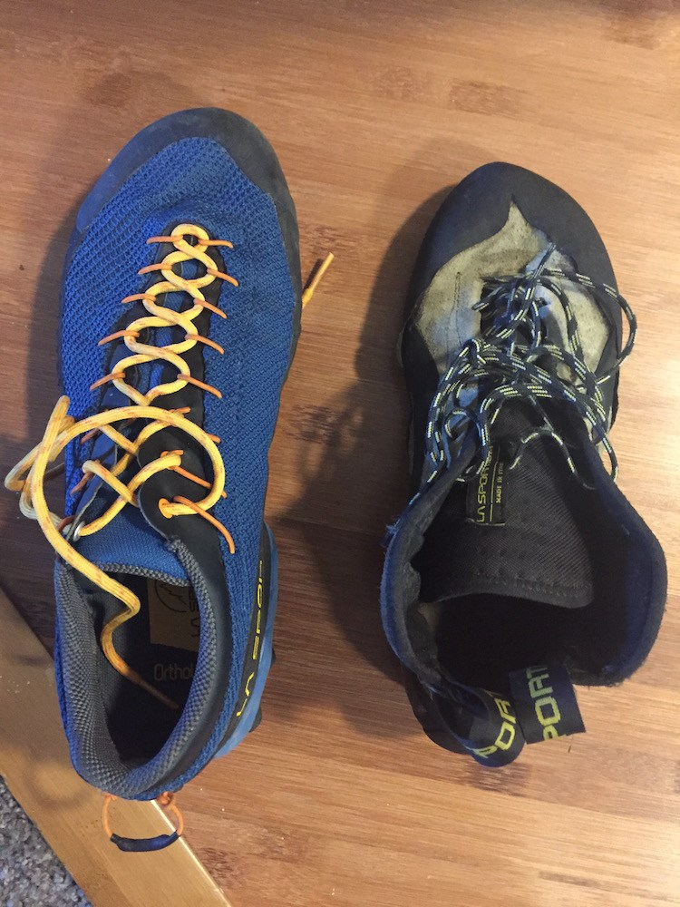 Top down view of the TX3s with a pair of Sportiva TC Pros for comparison. I wear a size 42 TC Pro and got a size 43 TX3. I like to size up approach shoes so that I don't loose my toe nails walking down-hill.