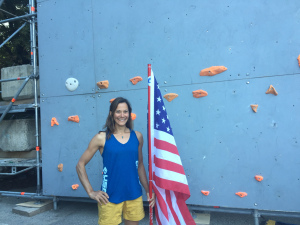 Holding the Flag before the presentation of athletes at IFSC World Cup (Lead) Briancon