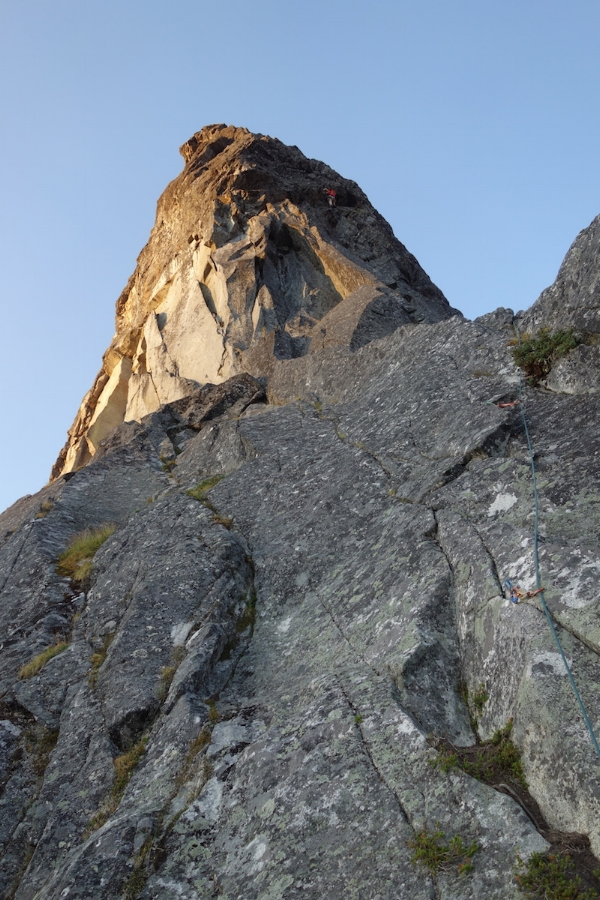 A QUICK SHOT OF JIMMY AS WE SIMUL THE NORTHEAST BUTTRESS
