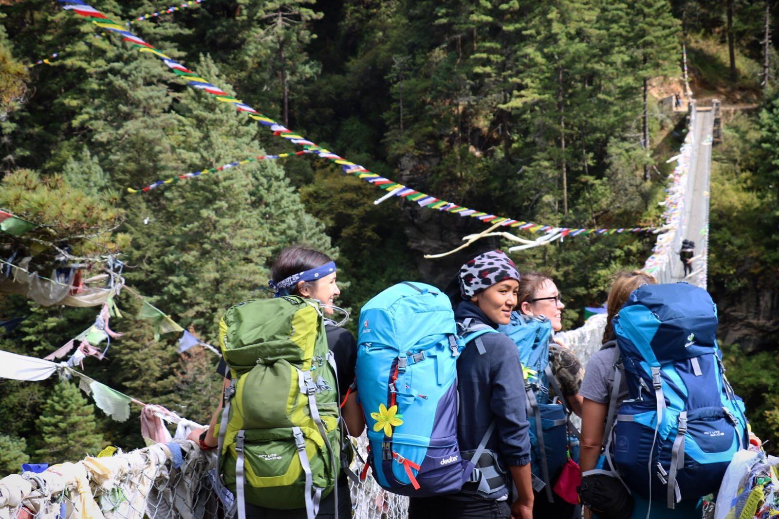 Kim, Phurba, Tammy and Ida on the trek from Lukla to Imja Tse basecamp. (Photo credit: Kim Couri)