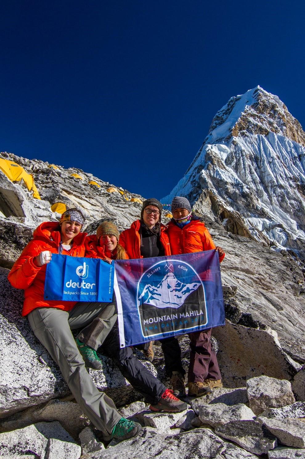 The full Mountain Mahila team at Camp 1 on Ama Dablam: Kim, Ida, Tammy and Phurba. (Photo credit: Ida Vincent