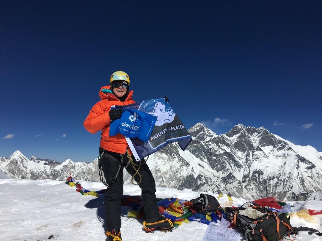 Tammy on the summit of Ama Dablam. (Photo credit: Tammy Martin).