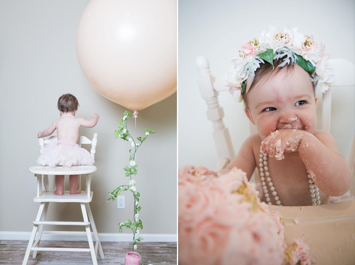 reno photographer kristi gayton photography baby one year cake smash vintage high chair