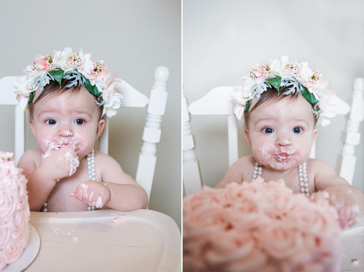 reno photographer cake smash session baby girl pink cake kristi gayton photography