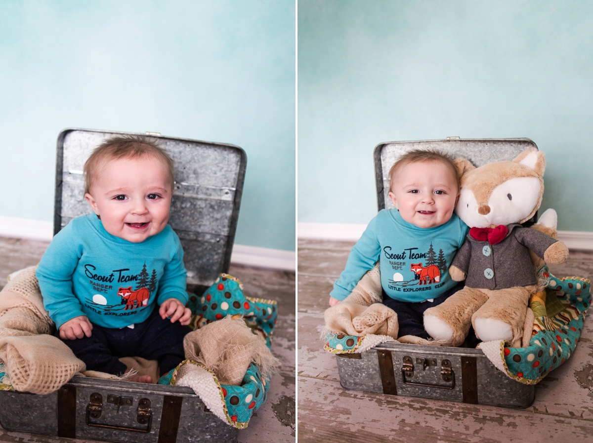 I love that they brought his little fox friend along for the session because we have a newborn photo of him with this as well.