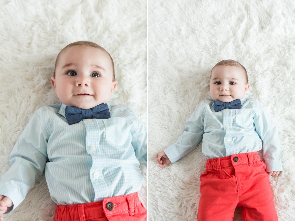 Reno newborn photographer baby in bowtie and orange kristi gayton photography