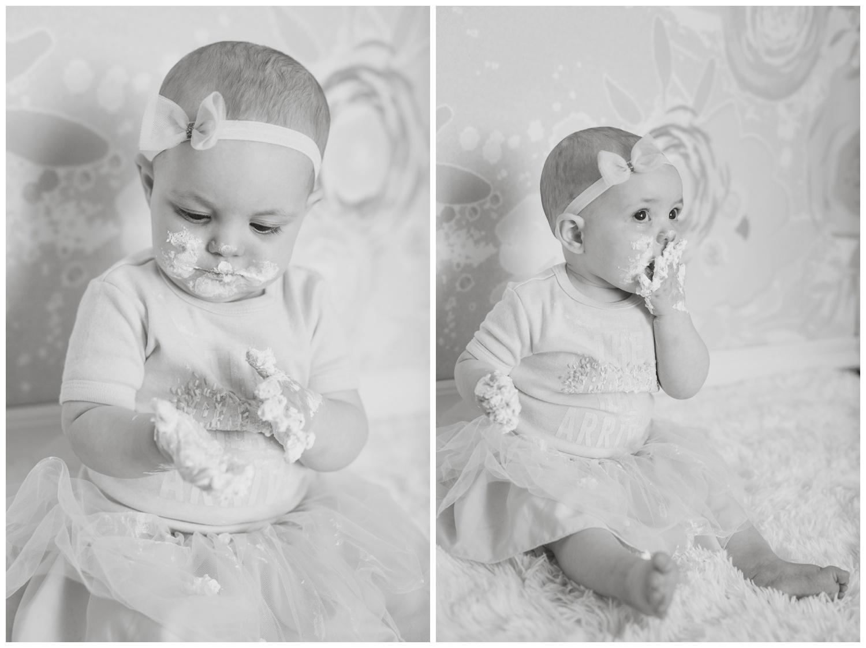Reno children's photographer cake smash isabella with kristi gayton photography