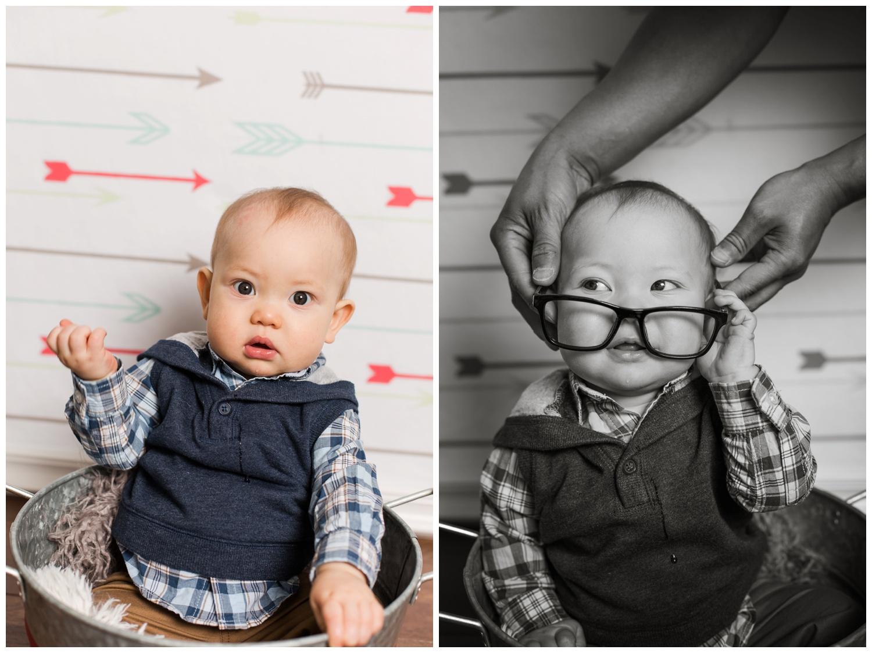 Reno Photographer studio session baby carter in glasses kristi gayton photography