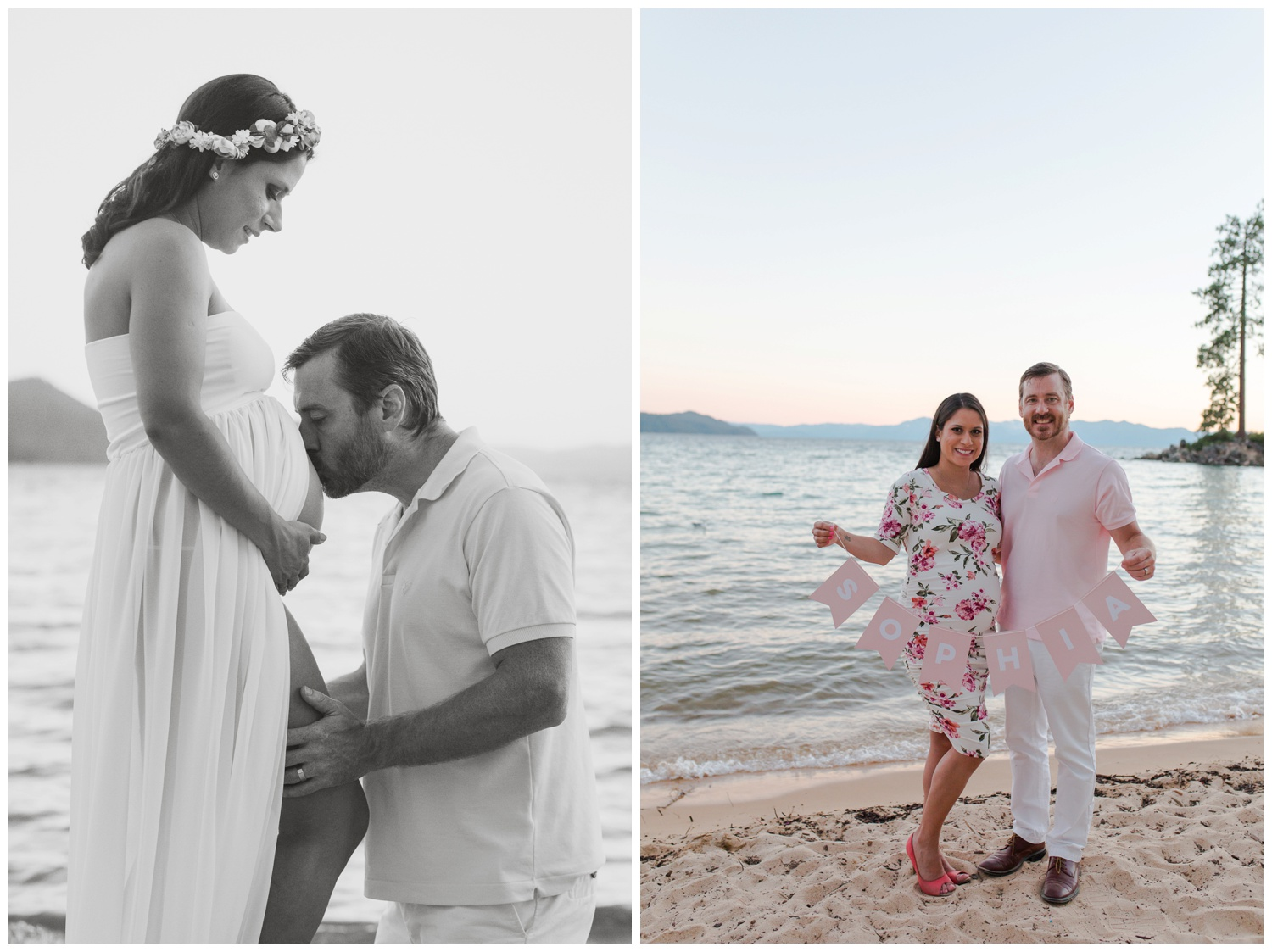 reno tahoe maternity photographer session on beach mom and dad kissing belly kristi gayton photography