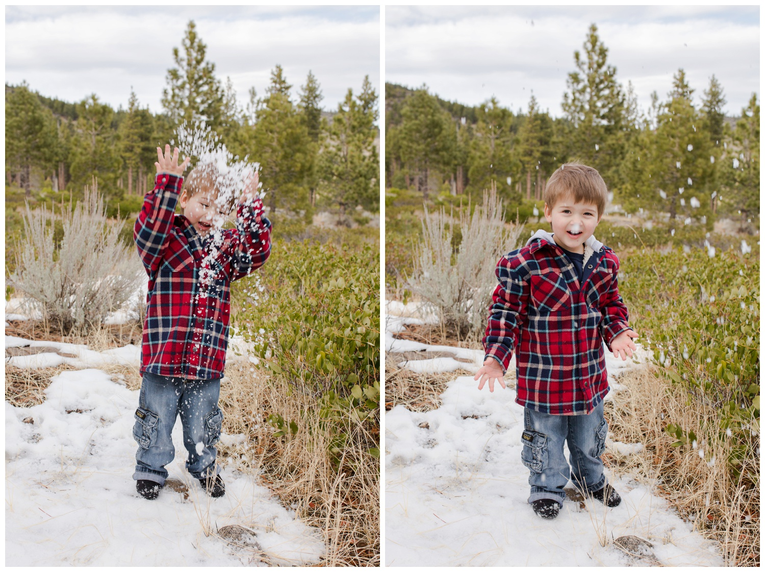 galena creek park reno family session playing in snow