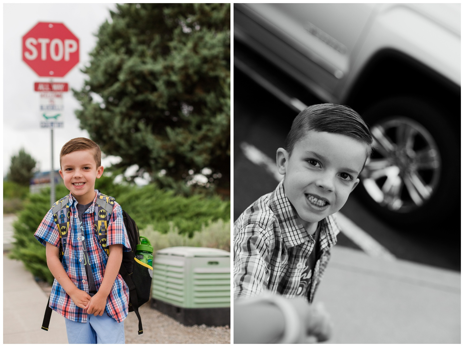 Here we are on our walk up to the school on that big first day... in the second picture he is holding on to my hand. I LOVE this picture! Look at his sweet face! He was being brave and smiling but you can see the nerves too! Isn't it amazing what a photo can capture... brings that memory right back!