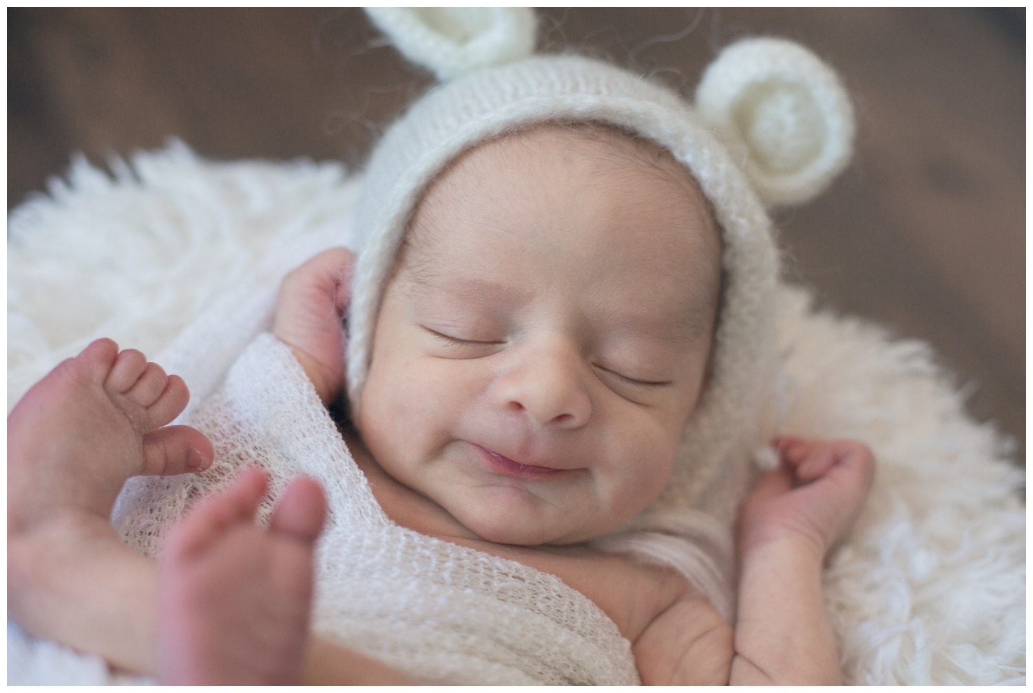 smiling bear newborn photography