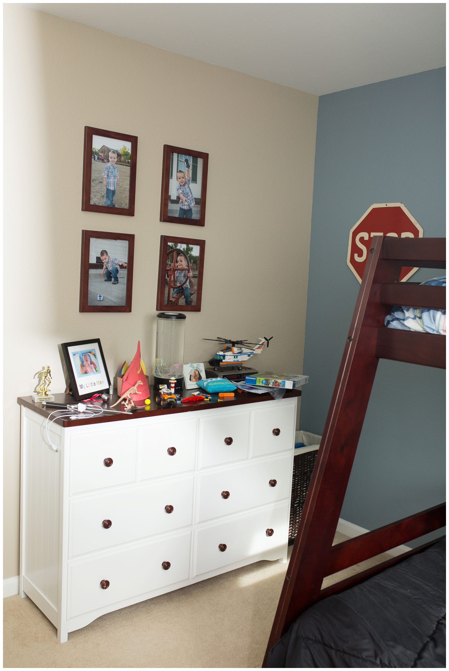 Another before image of of his room. We are holding on to the same dresser for now and we will replace the pictures in the frames with photos of him in his superhero costumes which is going to be so much fun! Stay tuned for those!