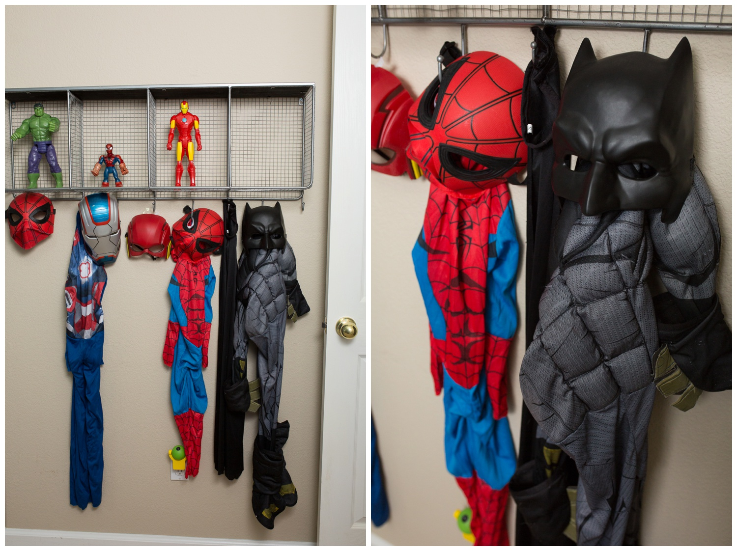And BOOM! Just like that we are making progress. The superhero masks, costumes, and figures all came from Amazon except the tiny little Spiderman which he already had. We will have to work on getting him more action figures and he is already asking for more costumes!