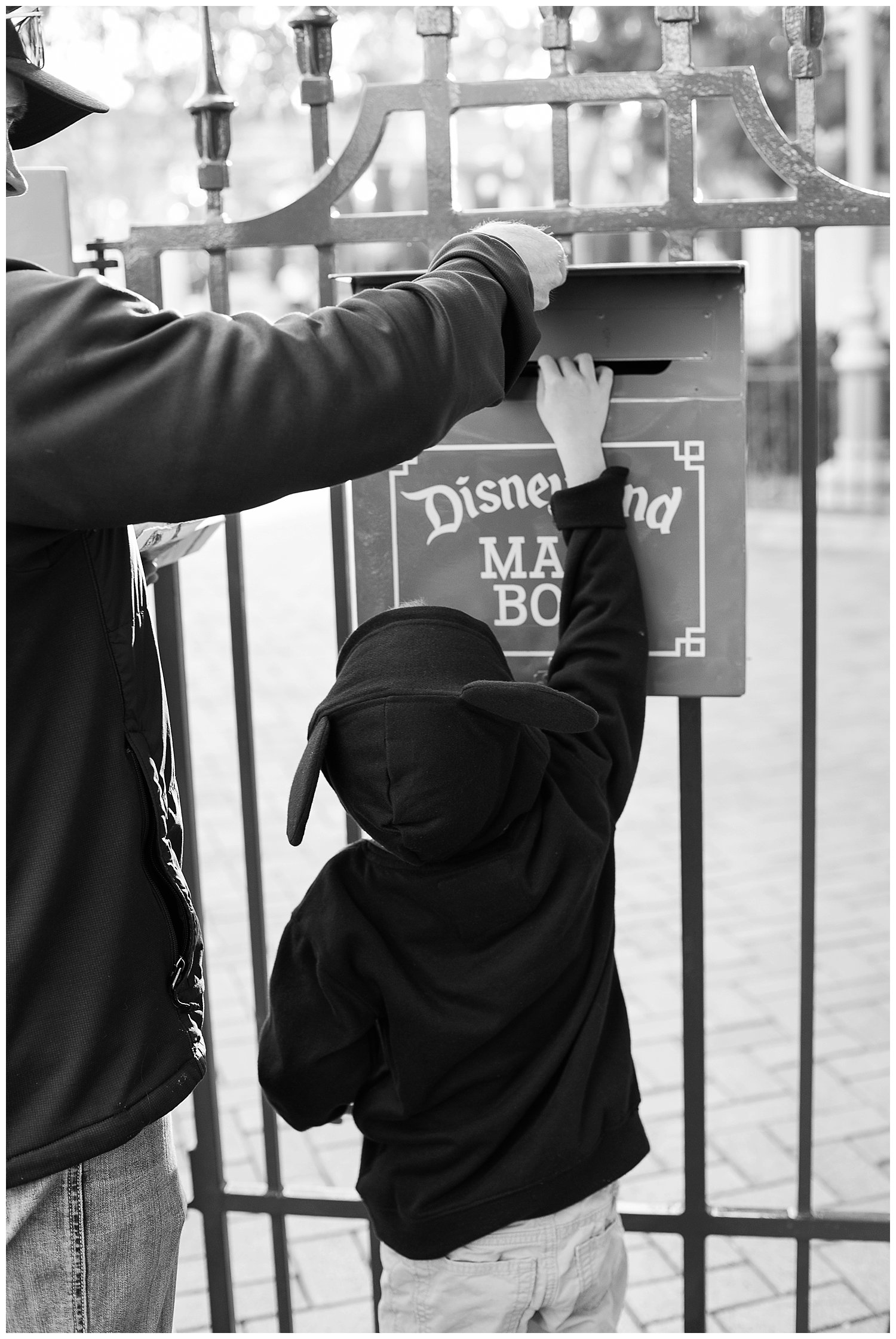 Declan had been saving a stack of mail for the characters in Disneyland for months and was so excited to finally get to put it in the mail box.