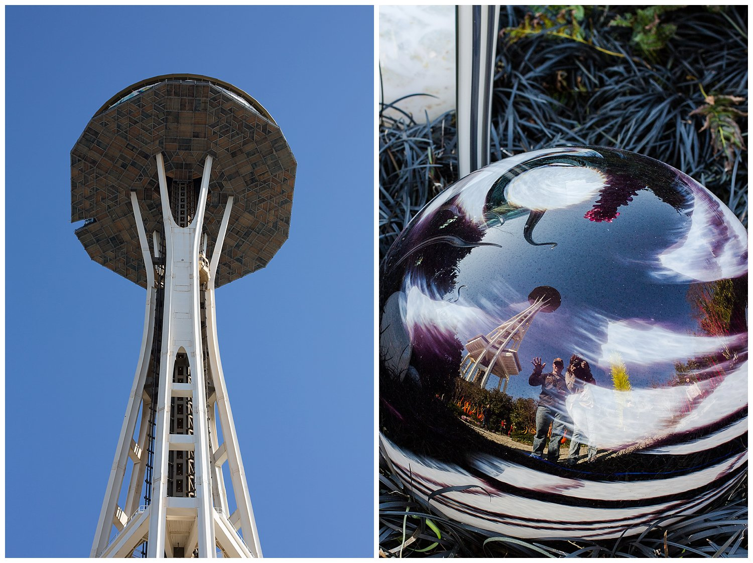 A little picture of us in the glass with a reflection of the Space Needle.
