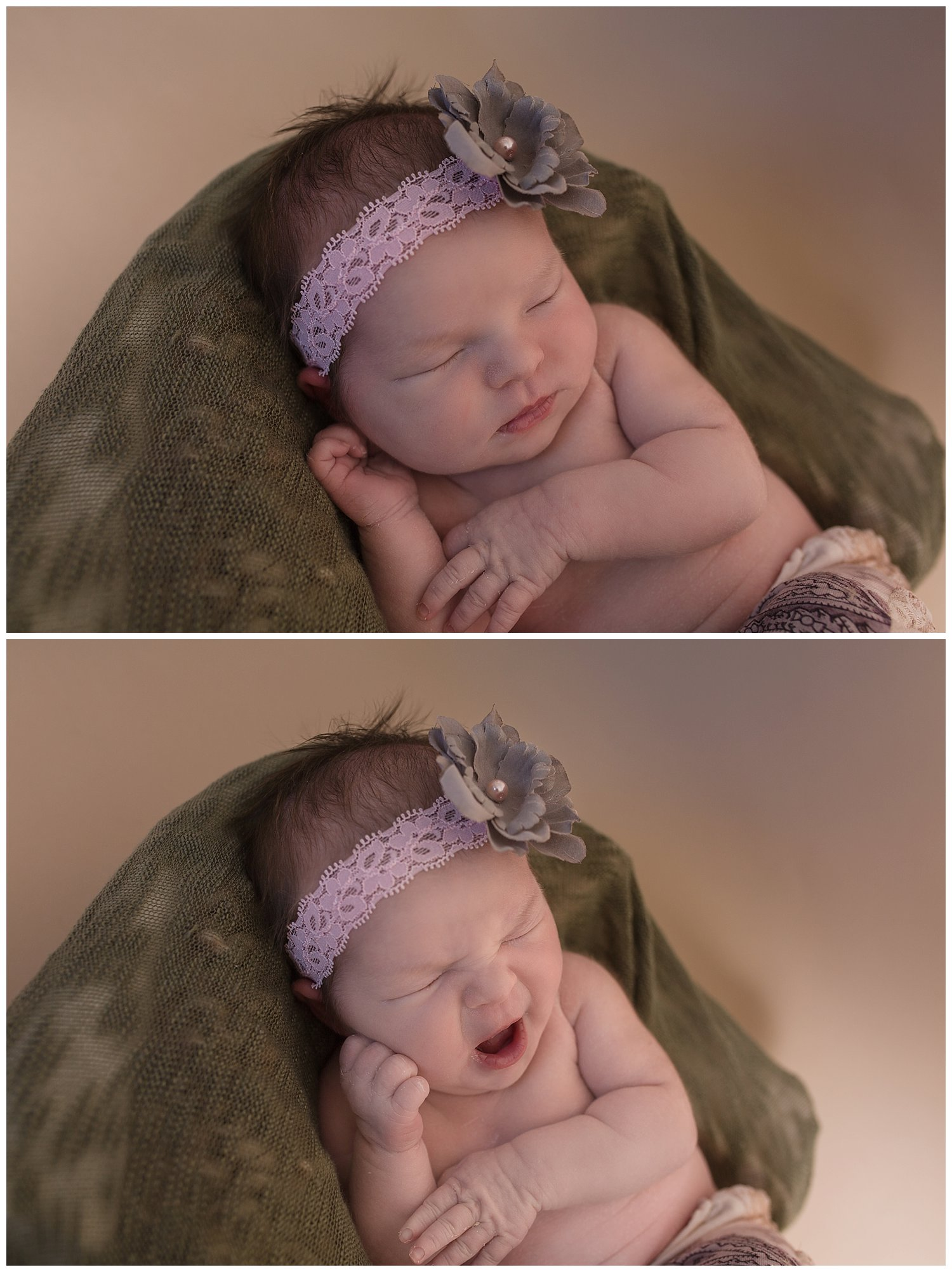Sweet baby yawns in the middle of the session. Her gray floral headband was something I made to go with her adorable little gray and purple pants.