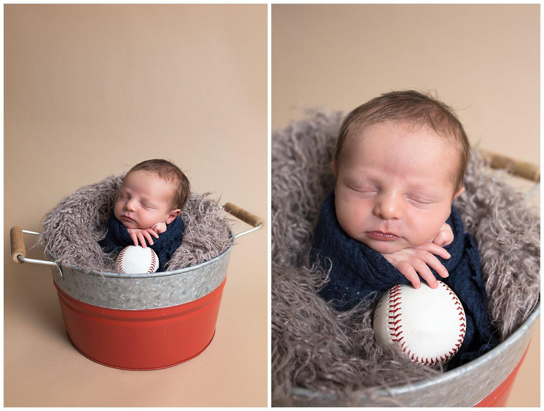 newbornbucketposenewbornwithbaseball