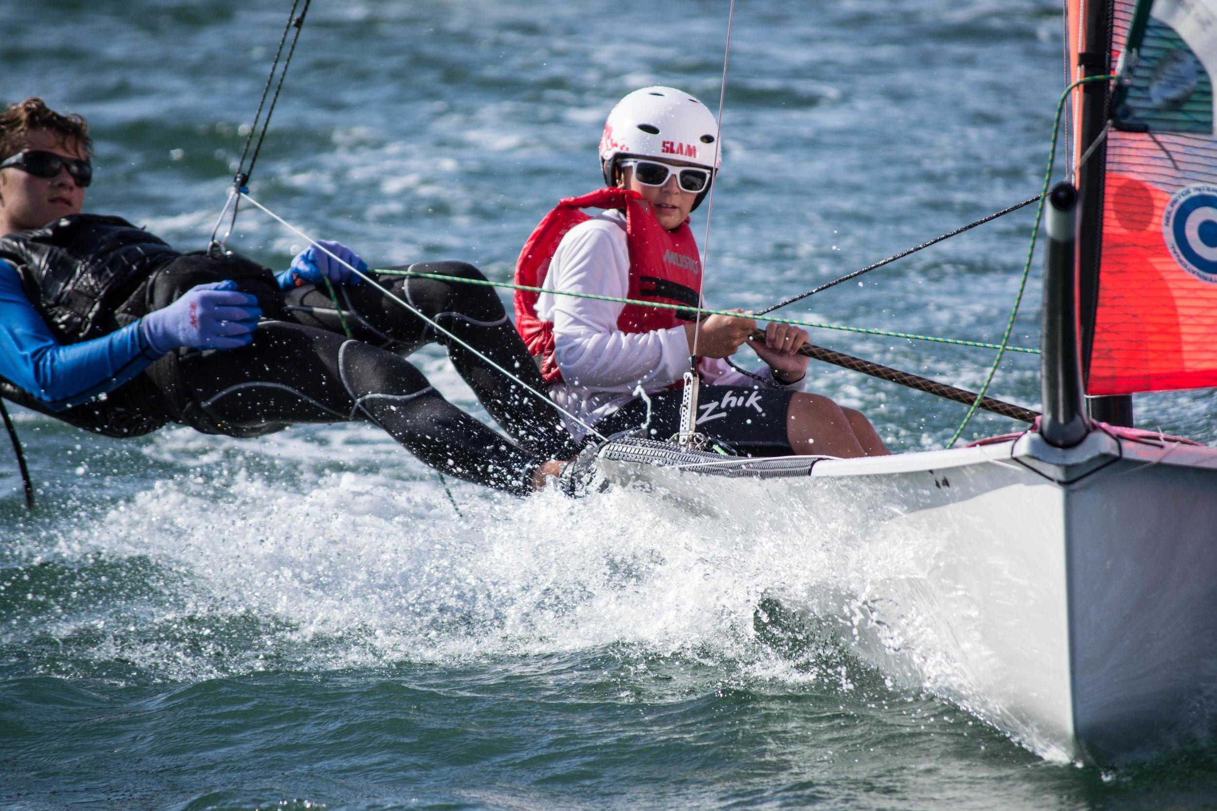 Peter Joslin and Jack Joslin sailing downwind in the 29er skiff