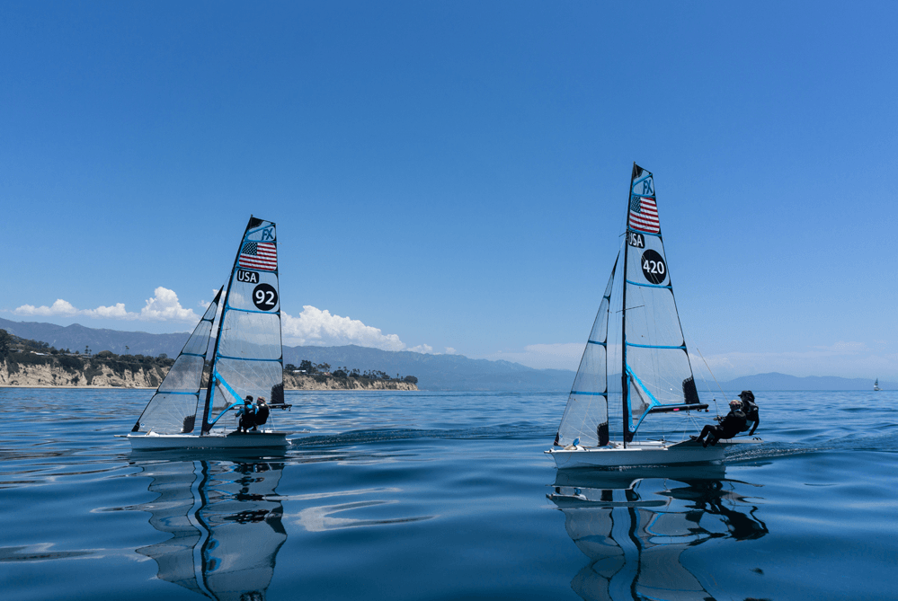 Paris Henken and Anna Tunnicliffe Tobias, and Nate Houseberg and Lucy Wilmot sailing in light air in santa barbara, california