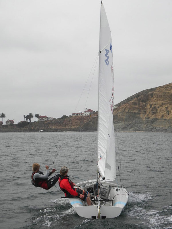 Although I focus mainly on high performance boats at this point, I did a lot of cross training as a junior sailor in 420s, 470s, FJs and other white sail boats!