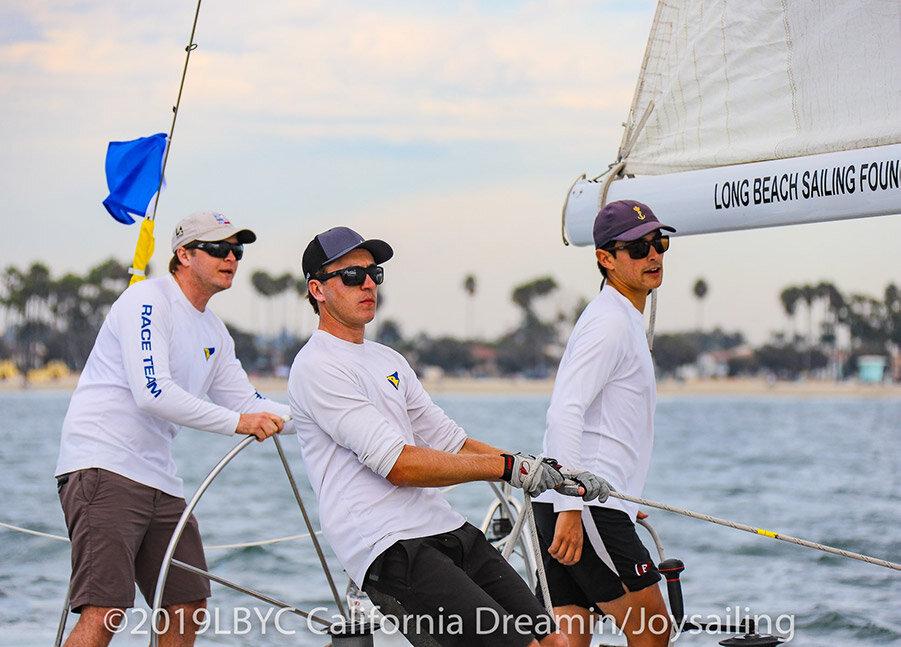 Chris Weis, Berto Stevens and Haydon Stapleton in the back of the catalina 37 sailboat
