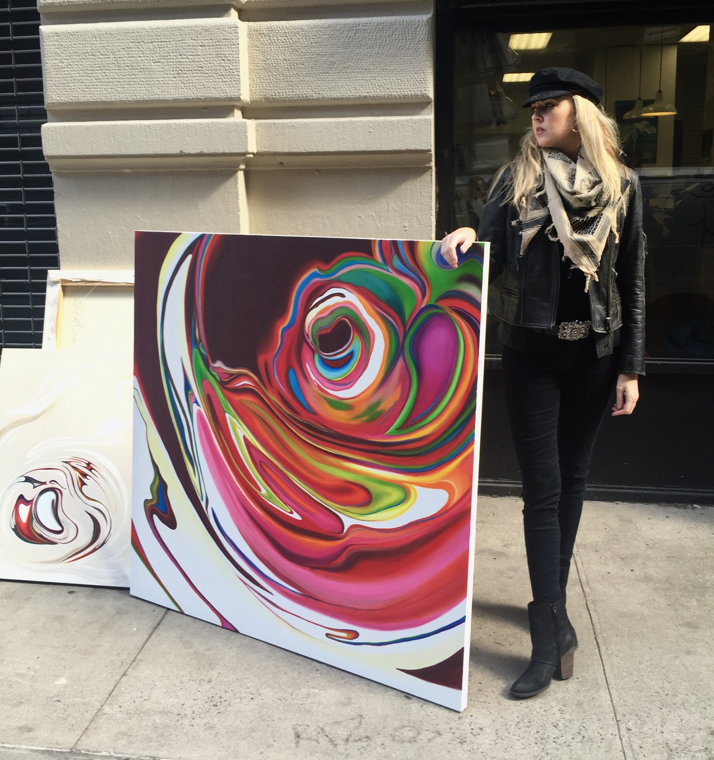"Artist Suzanne Scott pictured with paintings from her ""Finger Print Series"""