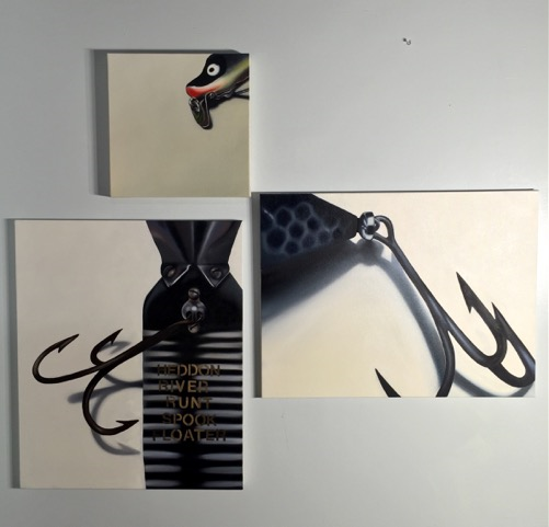 "Pieces from Scott's ""River Runt"" series based on fishing lures she used with her father as  girl"