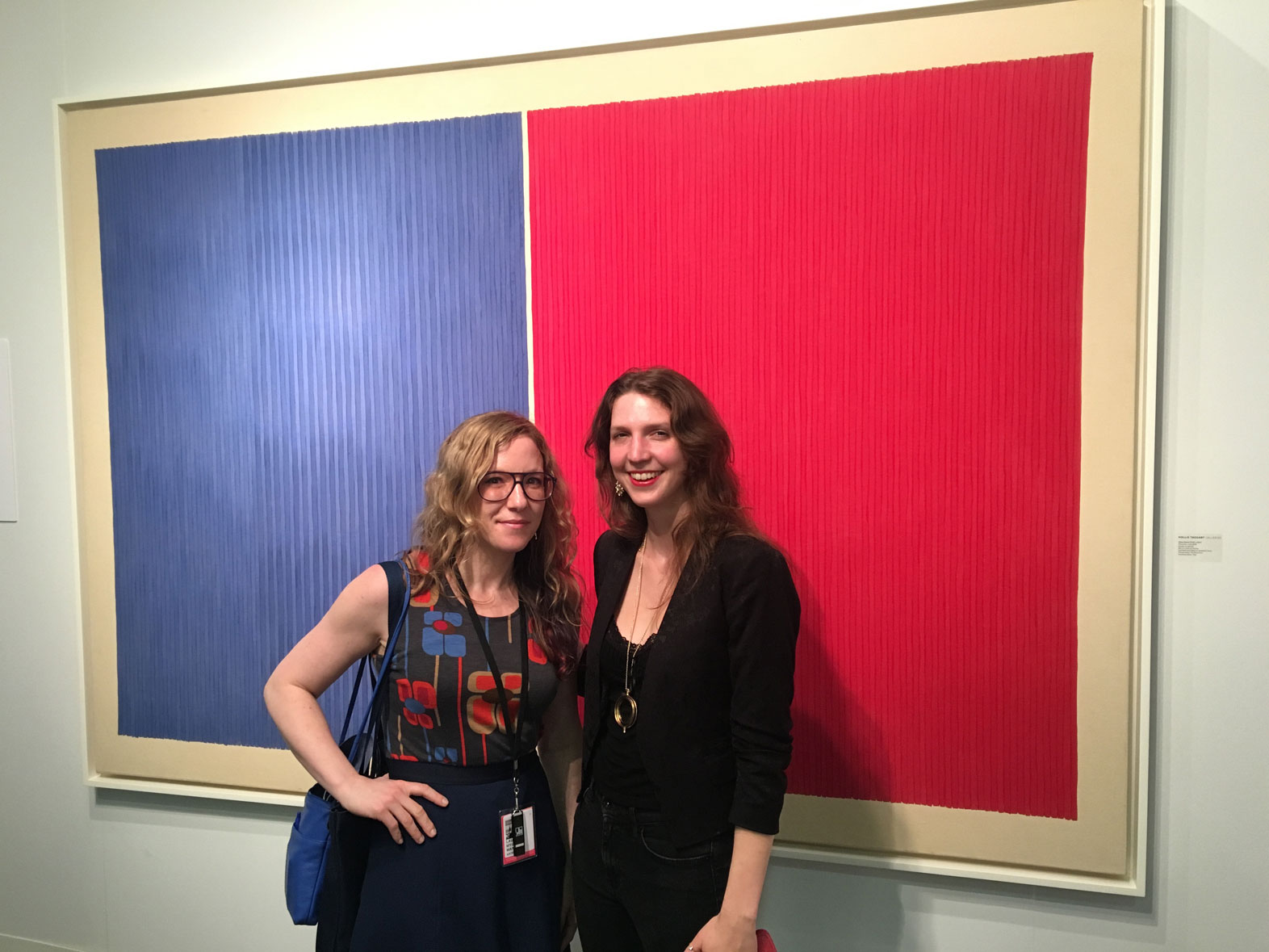 T he author with artist L. Mylott Manning in front of : Gene Davis, Pinnochio, 1978, Acrylic on canvas, Hollis Taggart Galleries, New York, NY