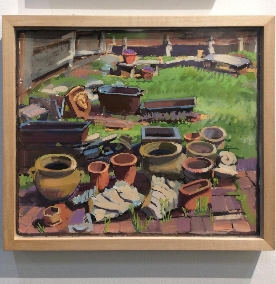 Catherine Drabkin,  Backyard, Arch Street,  2016, gouache on paper, Kraushaar Galleries Inc., New York, NY