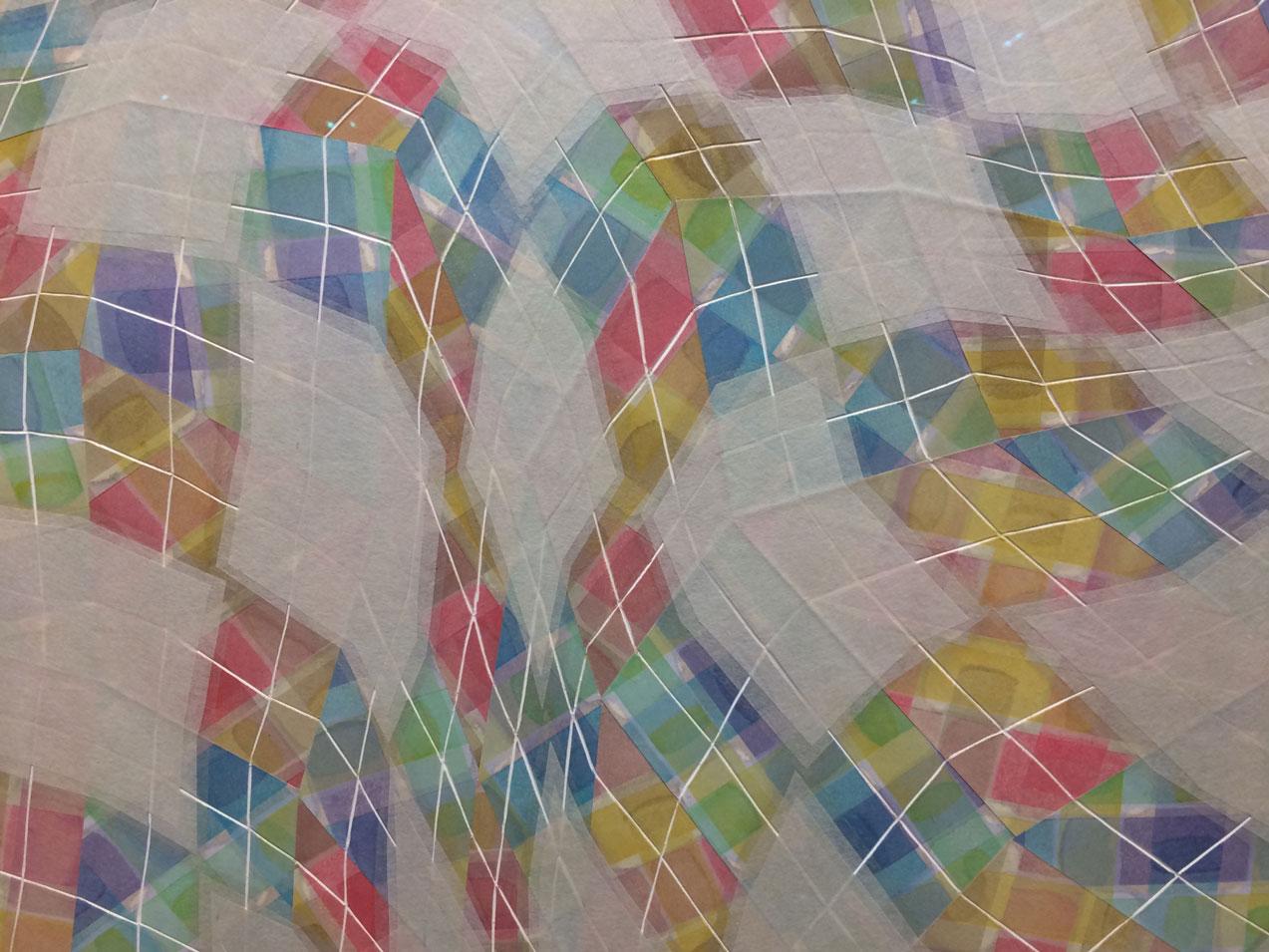Takuji Hamanaka,  Rites of Spring , 2015, Japanese color woodcut and gampi paper collage, Owen James Gallery, Brooklyn, NY