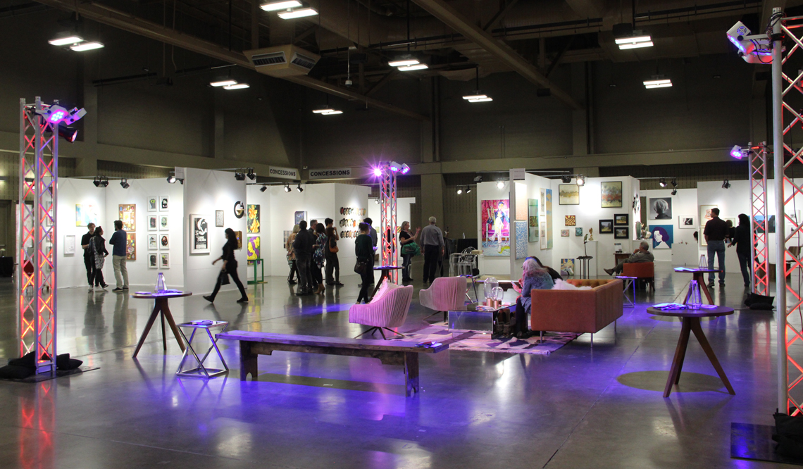 View of  Art City Fair  inside the Palmer Event Center, featuring galleries from across Texas