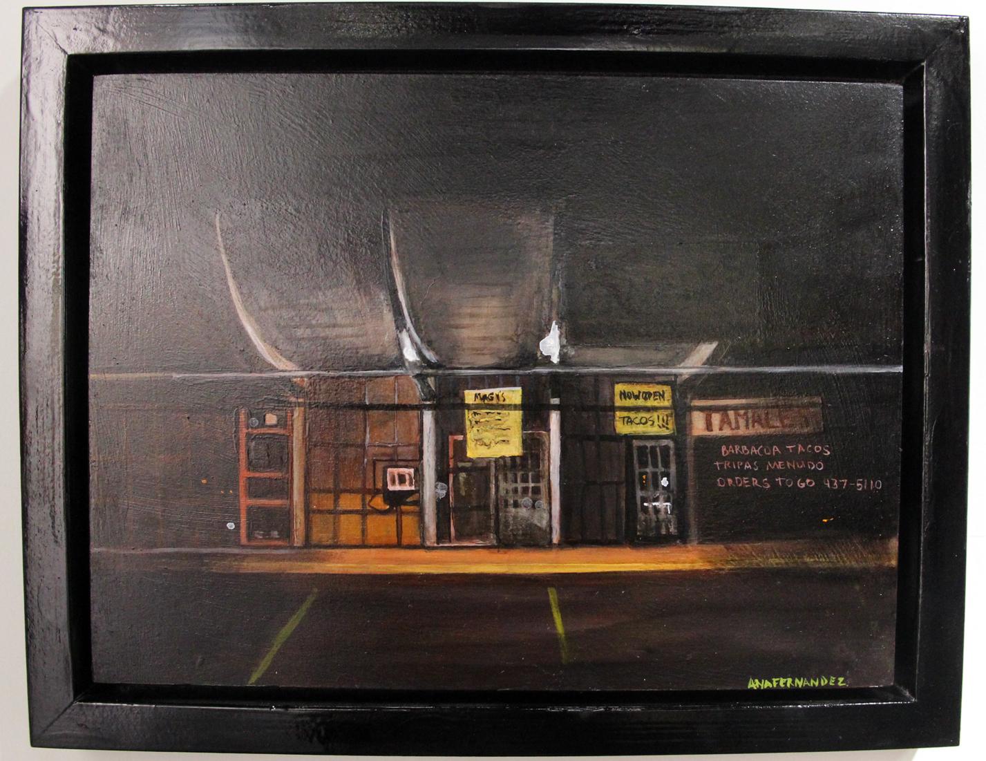 Ana Fernandez,  Magy's Tamales,  2017, Oil on panel, Cinnabar, San Antonio, TX