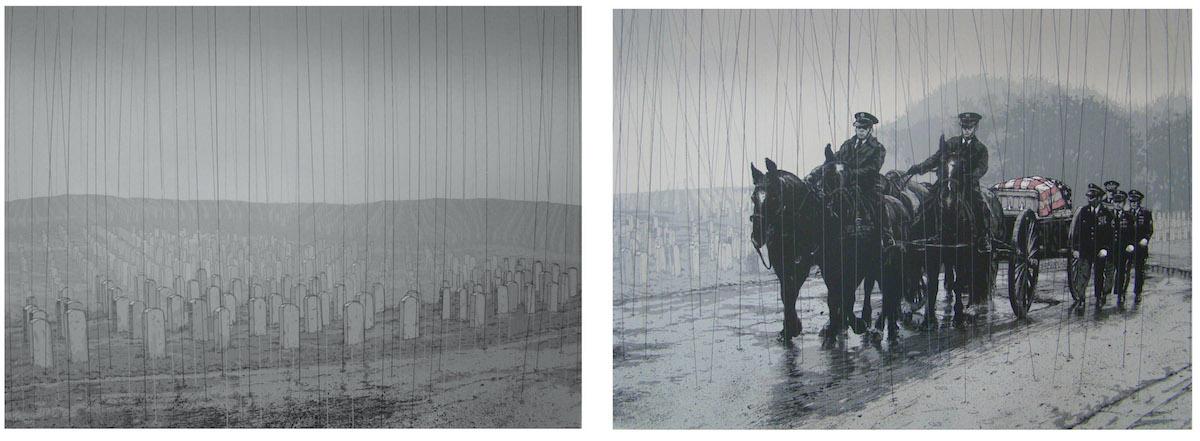 Vincent Valdez,  Winter in America (diptych),  2015, 10-color serigraph, David Shelton Gallery, Houston, TX