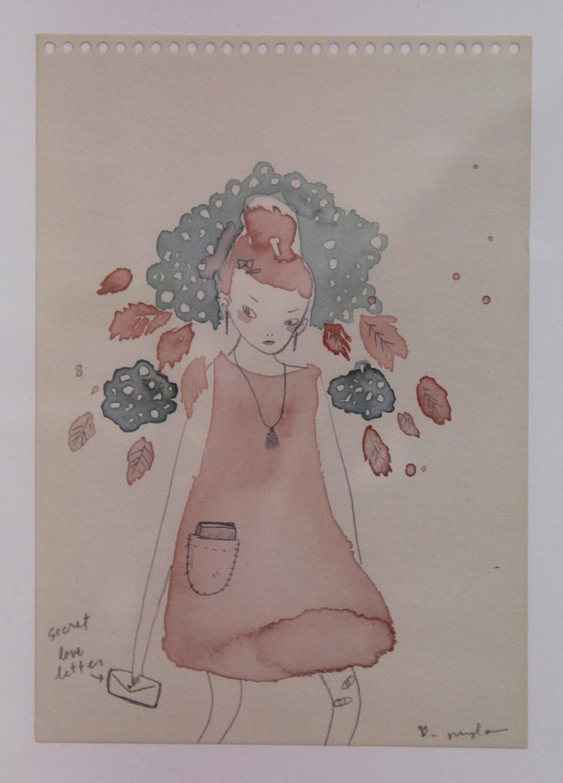Mylan Nguyen,  Secret Love Letter,  Watercolor and graphite on paper, The Public Trust, Dallas, TX