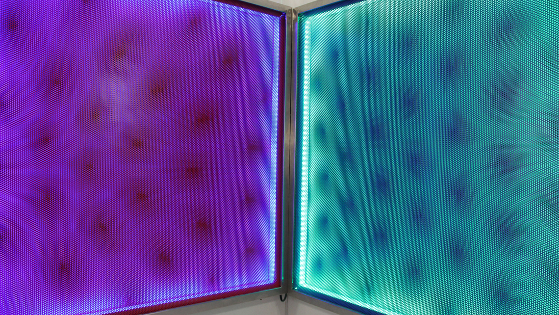 Larry Akers,  Deep Space II , 2016, Painted perforated aluminum, stainless steel, LED lights, corrugated plastic, CAMIBAart, Austin, TX