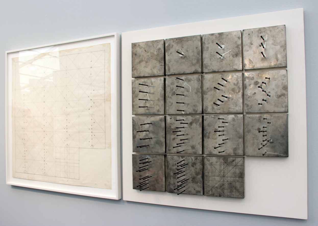Günther Uecker,  Plus-Minus-Nul  (object and drawing), 1968, object: 15 single objects, nails on tinplate on wood, drawing: pencil on paper, Eykyn Maclean, London, UK and New York, NY