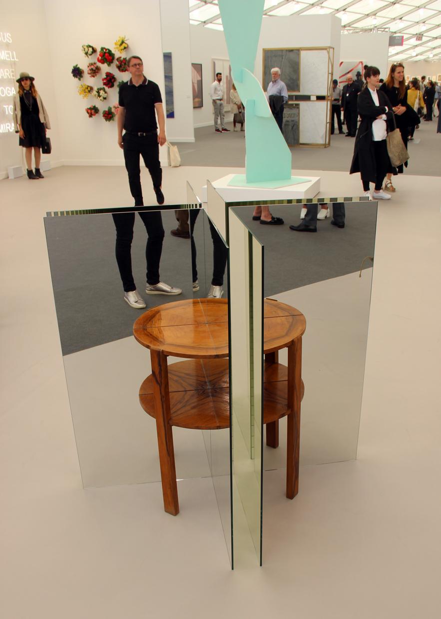 Alicja Kwade,  Ein Tisch ist ein Bild , 2017, Found wooden table, mirror, 303 Gallery, New York, NY