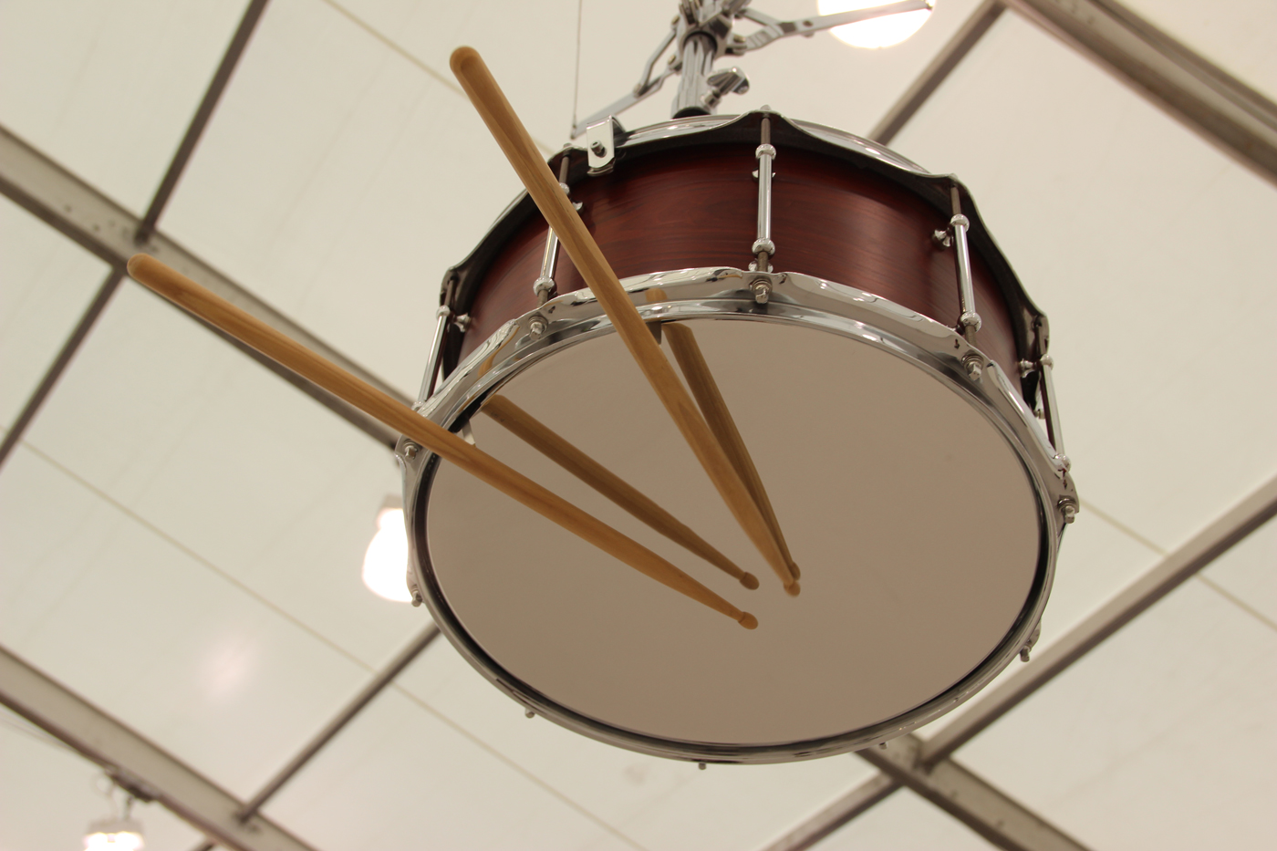 Anri Sala, Detail from  Bridges in the Doldrums  (2016)  ,  7 channel sound installation including 4 altered snare drums, loudspeaker parts, snare stands, drumsticks, 2 speakers and a subwoofer, Marian Goodman Gallery, New York, NY