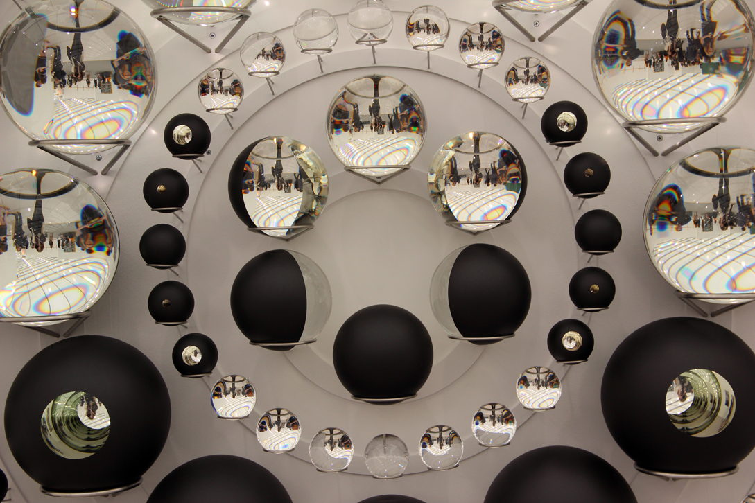 Olafur Eliasson,  Your hope diagram , 2017, 162 partially silvered crystal spheres, paint (black), stainless steel, Tanya Bonakdar Gallery, New York, NY