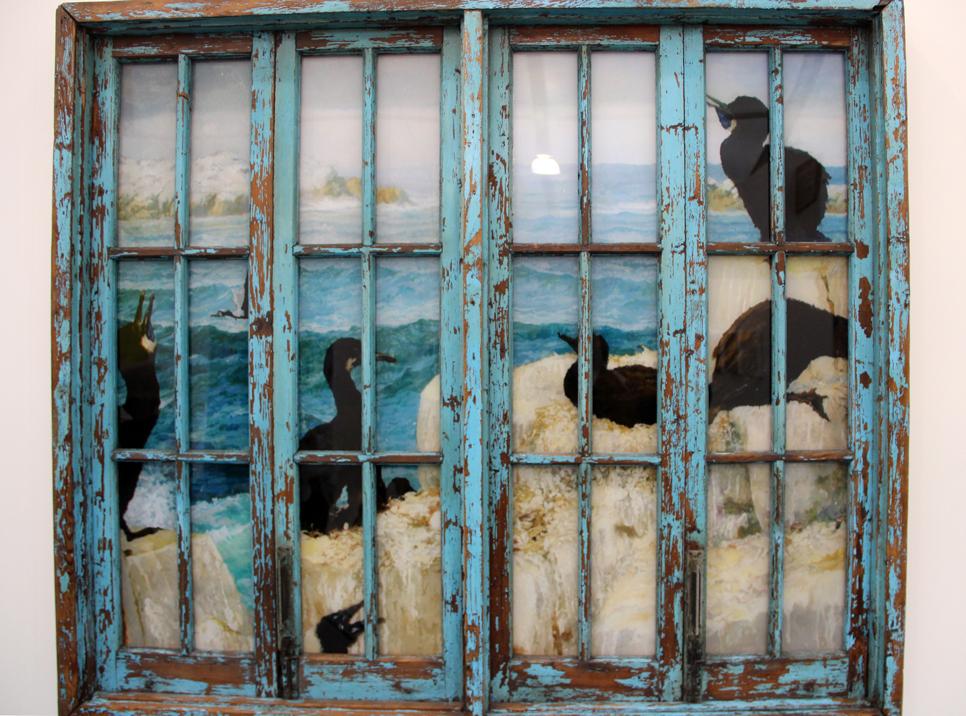 Li Qing,  Window – The Sea in The Museum , 2016-2017, wood, metal, oil on plexiglass, paint, aluminum-plastic panel, Leo Xu Projects, Shanghai, CN