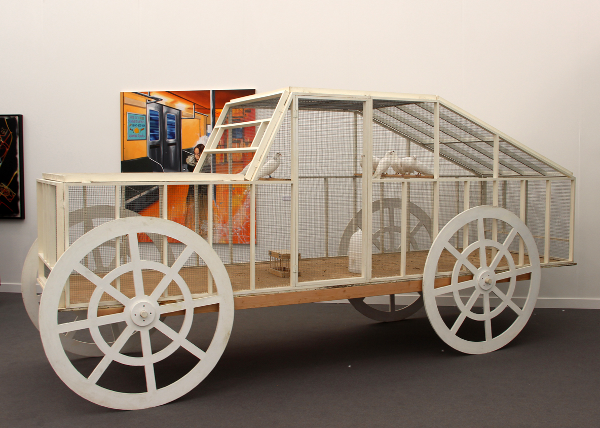 Andon van Dalen,  The Pigeon Car , 1987, wood, wire, live pigeons, P.P.O.W., New York, NY